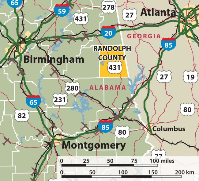Randolph County, Alabama Map